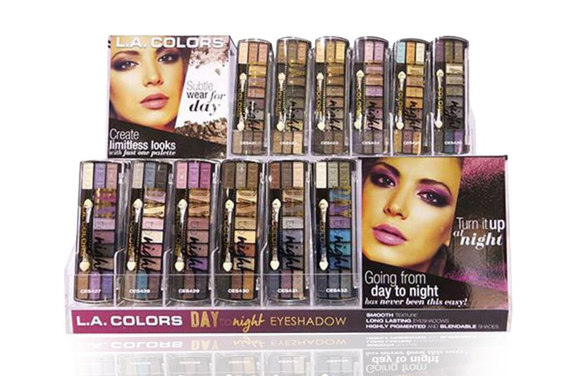 L.A. Colors Day to Night Eyeshadow of 144 units on a display