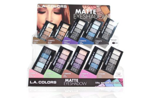 L.A. Colors Matte Eye Shadow with 120 units on a display