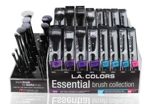 L.A. Colors Essential Brush Collection with 192 units on a display