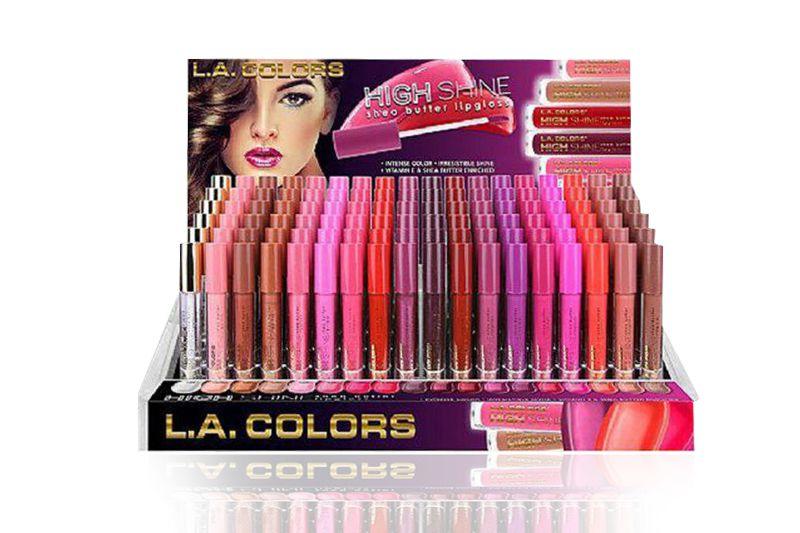 L.A. Colors High Shine Shea Butter Lipgloss de 216 unidades en un display