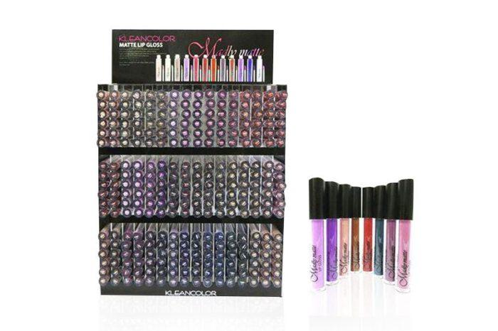 Kleancolor Matte Lip Gloss de 576 unidades en un display