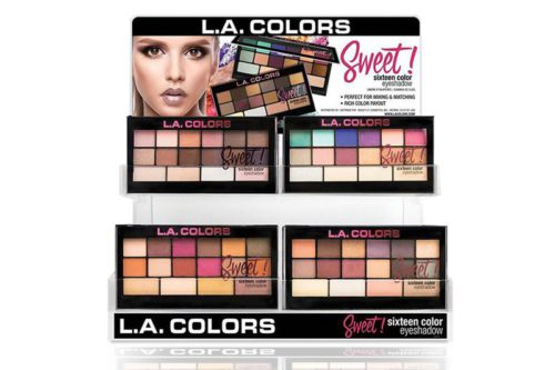 L.A. Colors Sweet Sixteen Color Eyeshadow Display with 60 units on a display