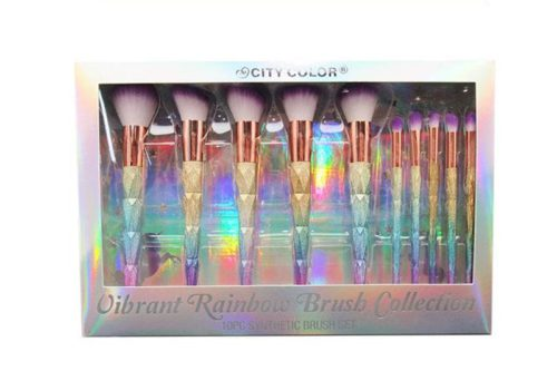 La parte frontal de la caja de un City Color Vibrant Rainbow Brush Collection que muestra 10 pinceles