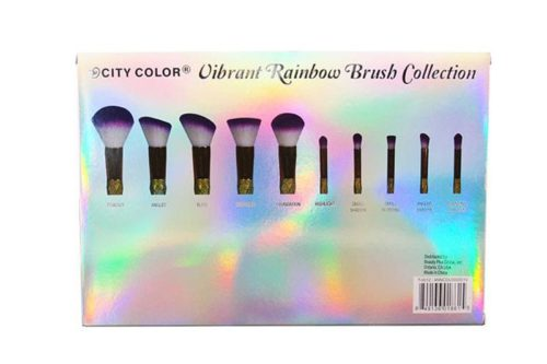 La parte posterior de la caja de un City Color Vibrant Rainbow Brush Collection que muestra una foto de las puntas de cada pincel presentado