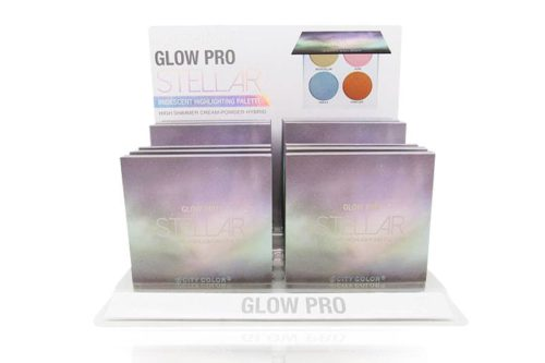 A white display containing 12 pieces of City Color's Glow Pro Highlighting Palette