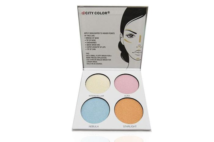 An opened City Color Glow Pro Highlighting palette displaying the four featured colors