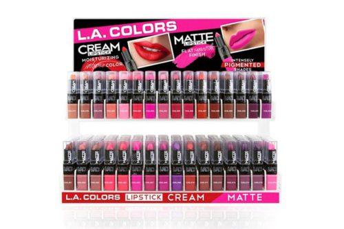L.A Colors Cream & Matte lipstick 384 unidades en un display