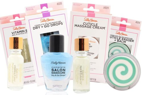 Two Sally Hansen Vitamin E Nail and Cuticle Remover Oil's, a Sally Hansen Complete Salon Manicure Dry & Go Drops, and a Sally Hansen Complete Salon Manicure Cuticle Eraser + Balm, each with their respective packaging