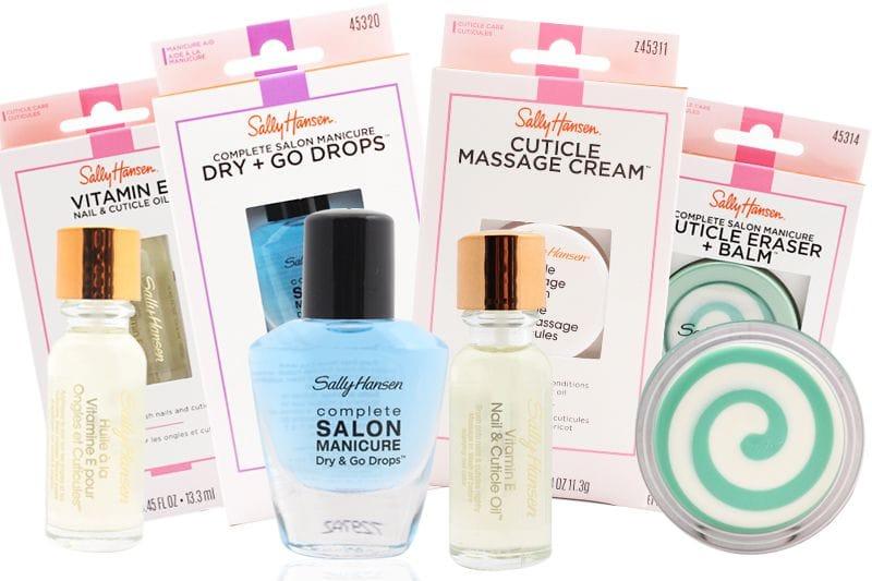 Dos Sally Hansen Vitamin E Nail and Cuticle Remover Oil's, un Sally Hansen Complete Salon Manicure Dry & Go Drops, y un Sally Hansen Complete Salon Manicure Cuticle Eraser + Balm, cada uno, con su embalaje