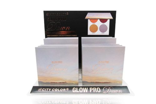 A display containing 12 units of City Color's Glow Pro Highlighting Palette