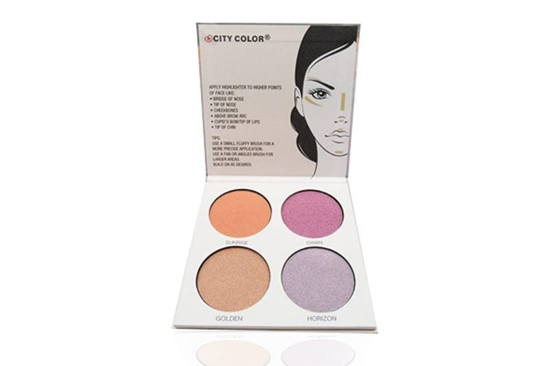 An opened City Color Glow Pro Highlighting Palette displaying instructions and its four shades