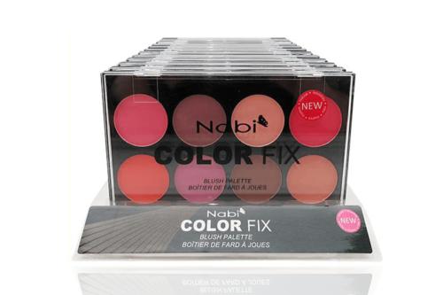 Un display de 12 unidades que contiene 12 paletas de la Nabi Color Fix Blush Palette
