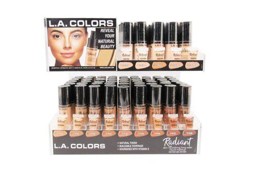 L.A. Color Radiant Liquid Makeup of 126 units on a display