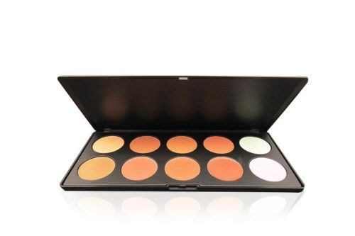 A City Color 10 Color Foundation and Concealer Palette opened displaying its 10 distinct shades