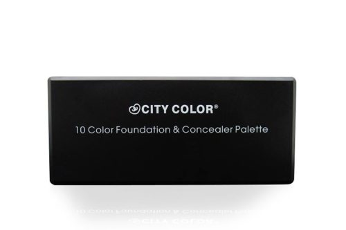 "The front cover of the City Color Foundation and Concealer Palette with the text ""City Color Foundation and Concealer Palette"" written in white."
