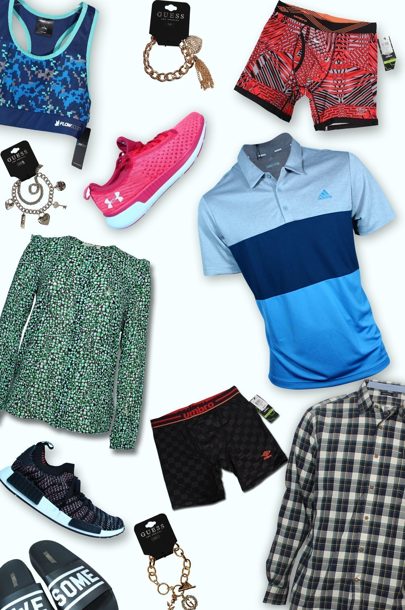 A collection of women's shoes bluses and, with men's polos boxer and t-shirt light background