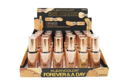 Kleancolor Forever & A Day Soft Matte, All Day Comfort Stick Foundation Light Shades Display (SF521