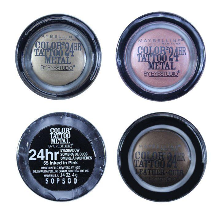 Maybelline Color Tattoo Metal Sombras Para Ojos Pigmento 24H Cuatro Tonos Surtidos