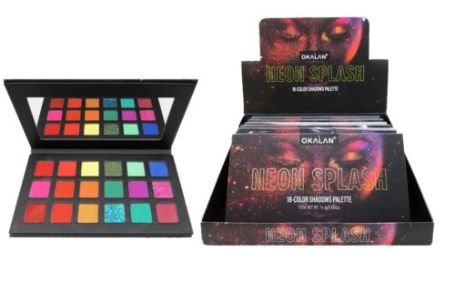 Okalan Neon Splash 18 Color Shadows Palette Display (OKL-E106)