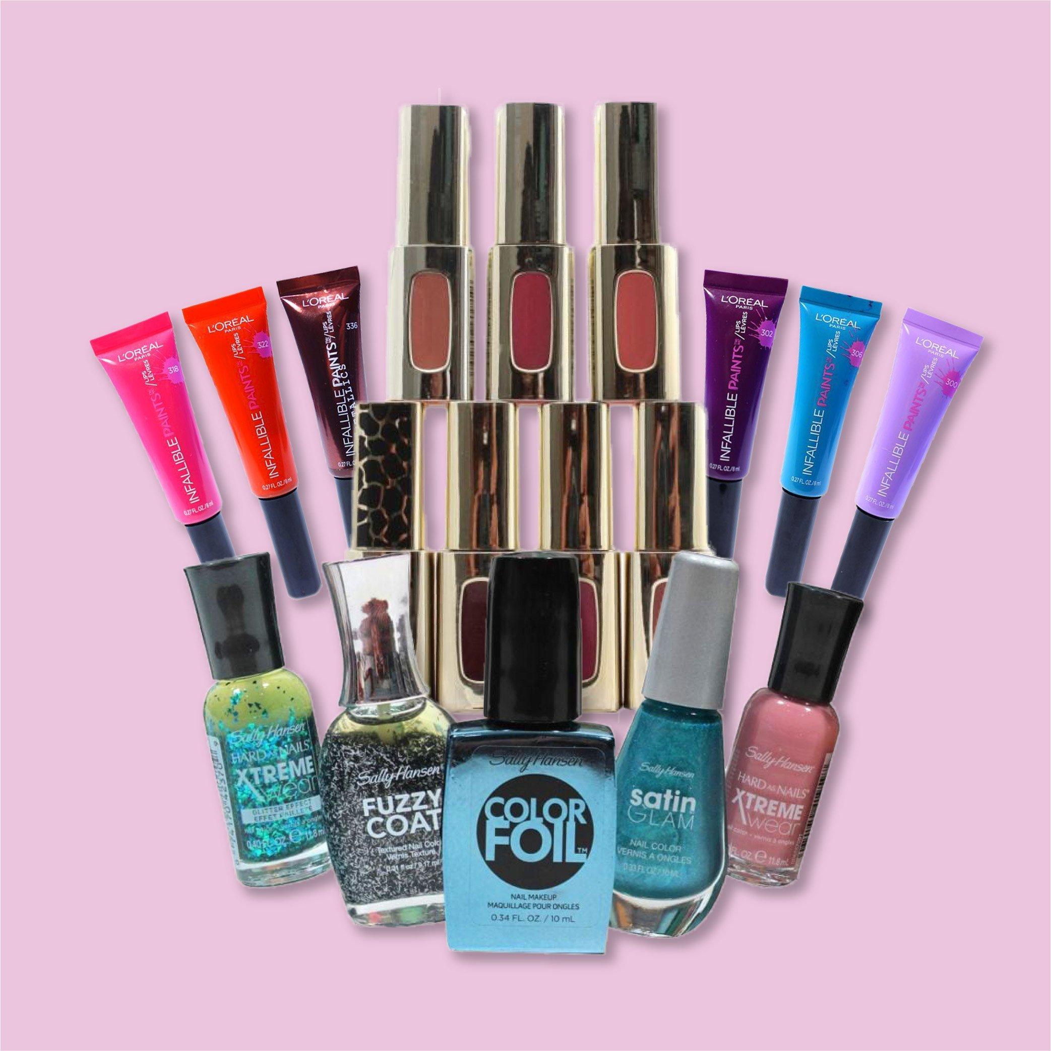 Una colección de pinturas infalibles de L'Oréal con cinco productos para uñas Sally Hansen y siete lápices labiales de L'Oréal