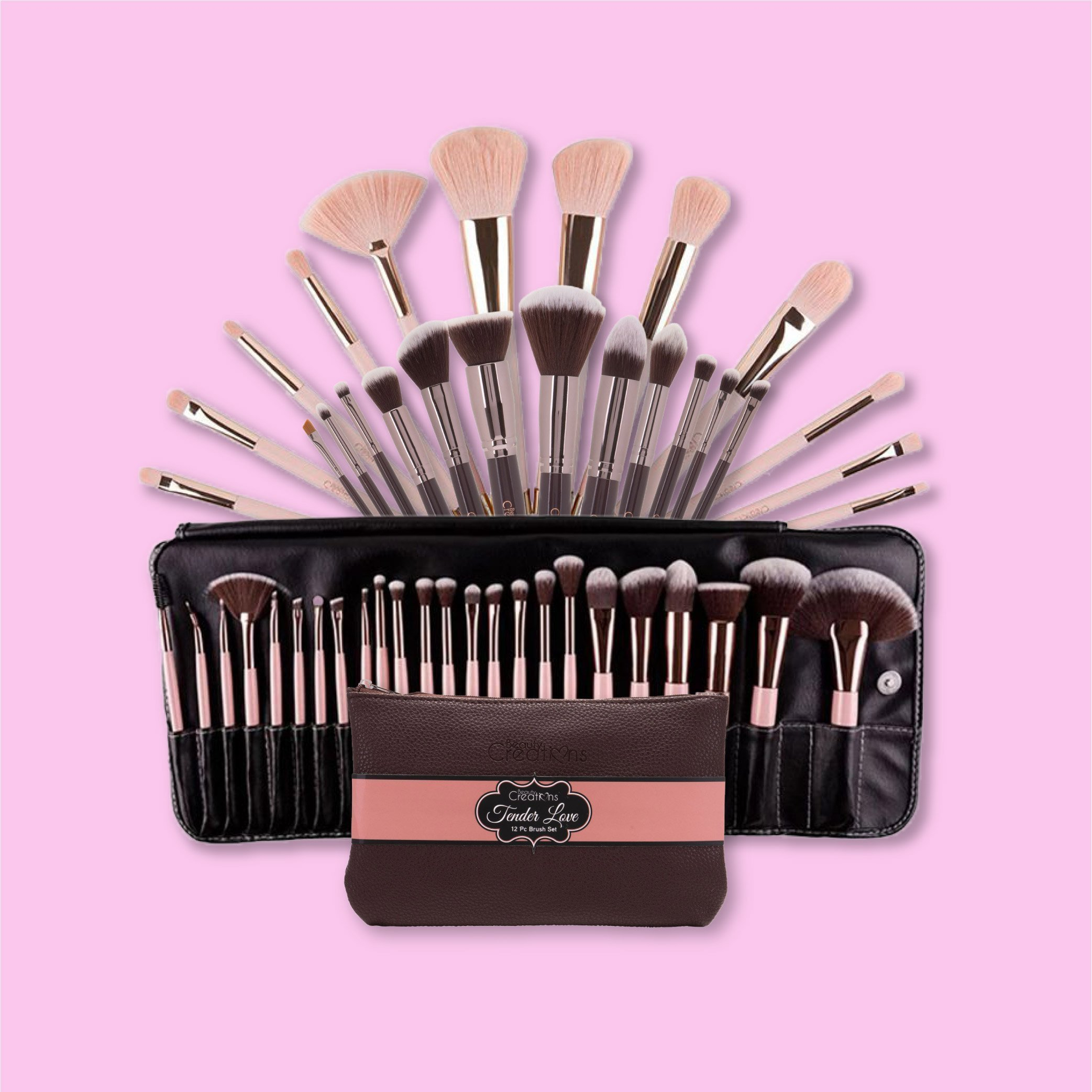 One closed bag of beauty Creations Tender Love brushes with an open one behind it on a pink background