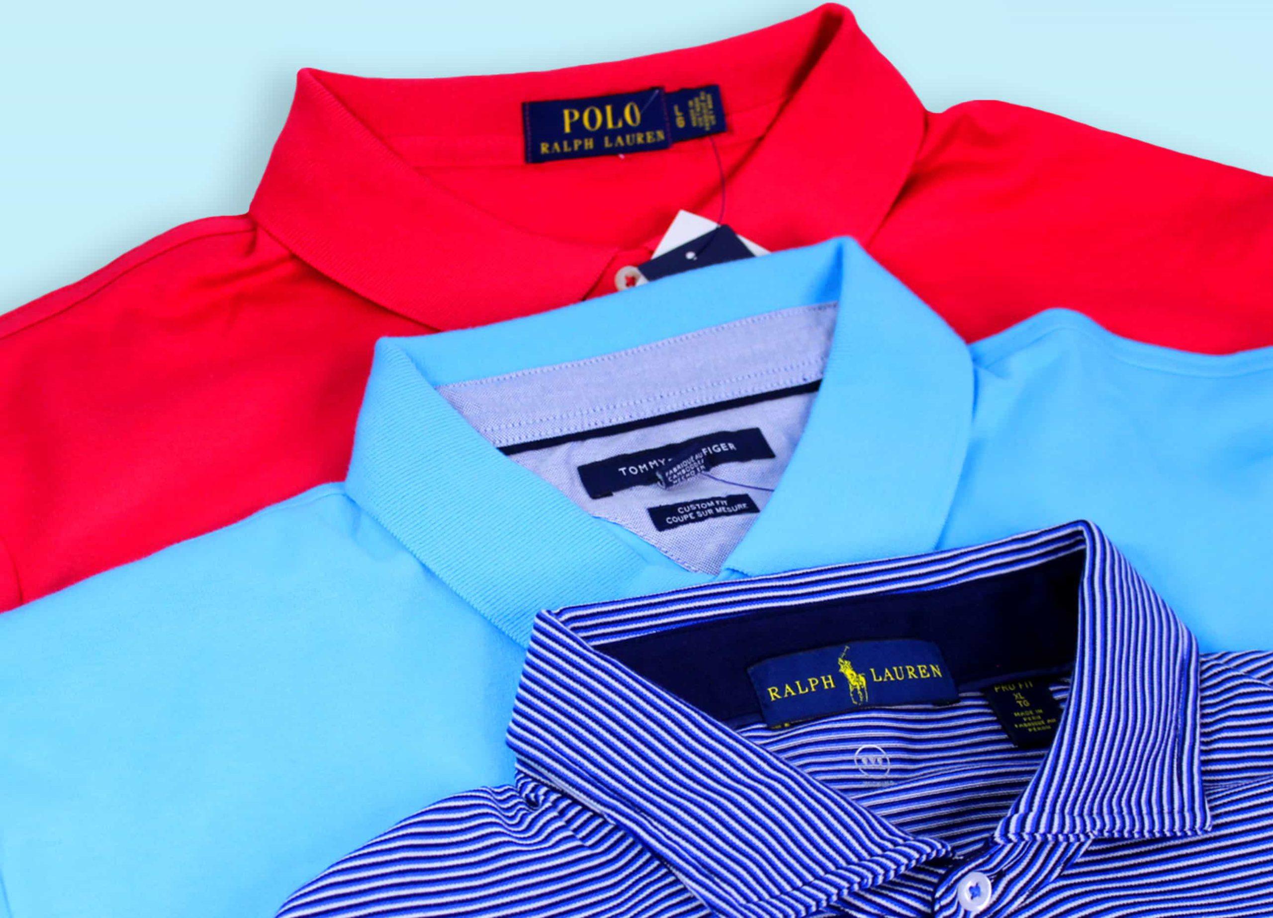 A red Polo Ralph Lauren shirt below a light blue Tommy Hilfiger Polo below a blue Polo Ralph Lauren shirt