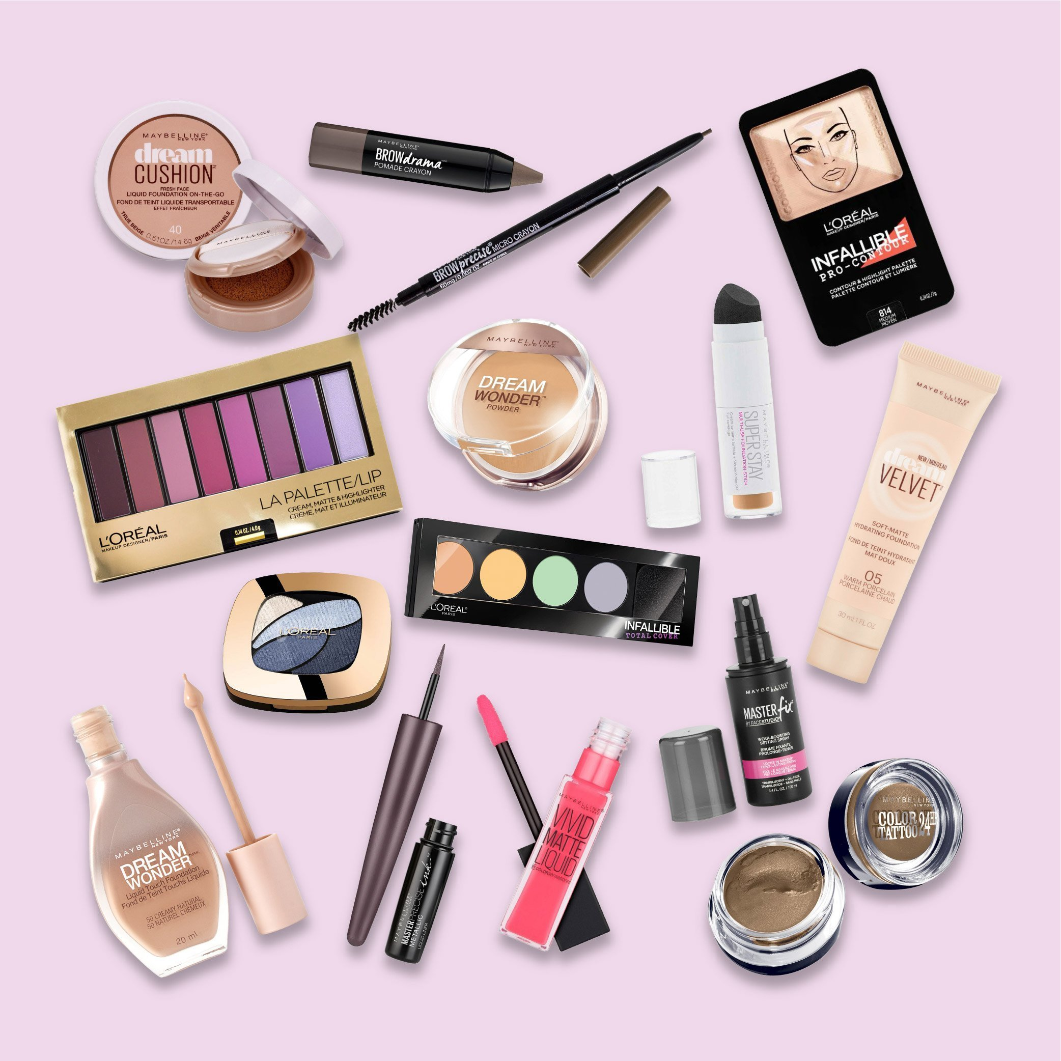 A collection of foundations, pomade crayons, contours, and eyeshadow palettes products from Maybelline and L'Oréal on a pink background