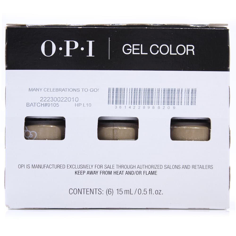El embalaje de fabrica de un lote de OPI Gel Color Many Celebrations To Go!